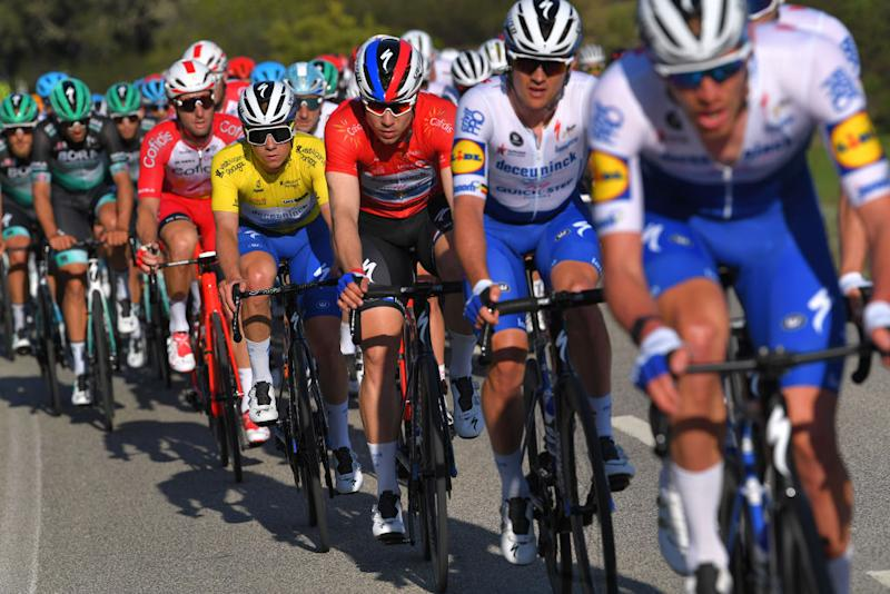 TAVIRA PORTUGAL FEBRUARY 21 Remco Evenepoel of Belgium and Team Deceuninck Quick Step Yellow Leader Jersey Fabio Jakobsen of The Netherlands and Team Deceuninck Quick Step Red Points Jersey during the 46th Volta ao Algarve 2020 Stage 3 a 2019Km stage from Faro to Tavira VAlgarve2020 on February 21 2020 in Tavira Portugal Photo by Tim de WaeleGetty Images