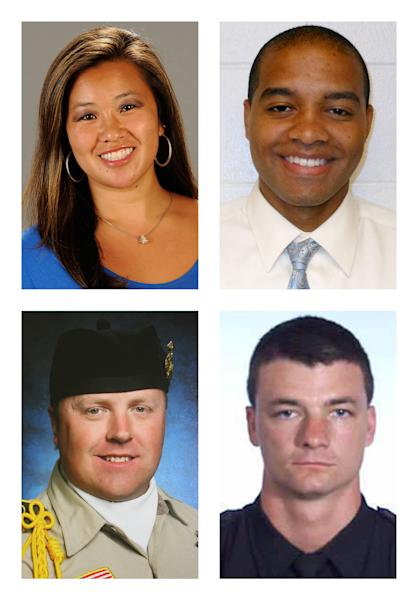 This combination of photos shows, from top row left, NCCA college basketball coach Monica Quan, USC Department of Public Safety Officer Keith Lawrence, San Bernardino Sheriff's Deputy Jeremiah MacKay and Riverside Police Department Officer Michael Crain, bottom row right, who were killed by suspect, former Los Angeles Police Department officer Christopher Dorner. (AP Photo/Cal State Fullerton, USC Department of Public Safety, San Bernadino Sheriff's Department via The Press-Enterprise, Riverside Police Department)
