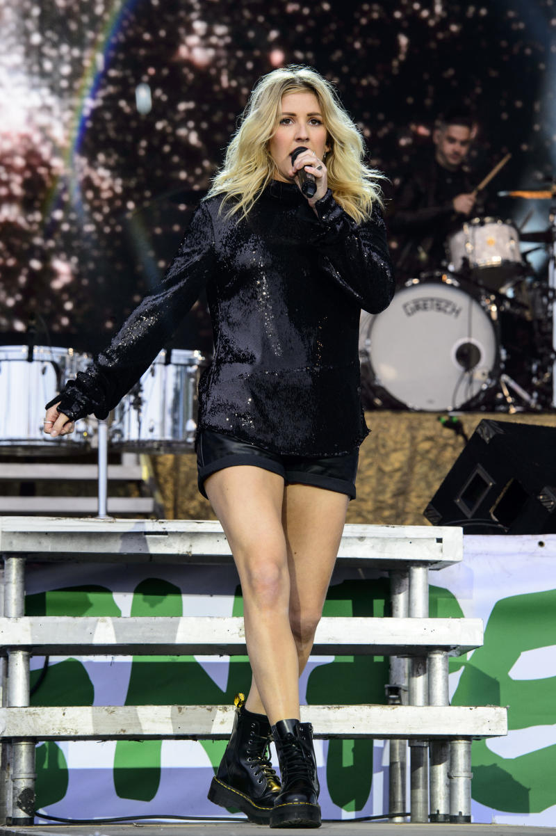 British singer Ellie Goulding performs at the Glastonbury music festival at Worthy Farm, in Somerset, England, Sunday, June 26, 2016. (Photo by Jonathan Short/Invision/AP)