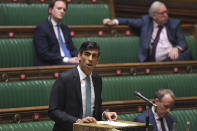 Britain's Chancellor of the Exchequer Rishi Sunak delivers his one-year Spending Review in the House of Commons, in London, Wednesday, Nov. 25, 2020. (Jessica Taylor/UK Parliament via AP)