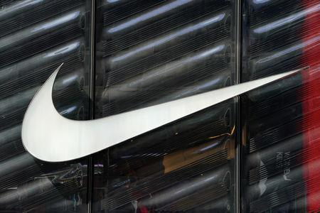 The Nike swoosh logo is seen outside the store on 5th Ave in New York, New York, U.S., March 19, 2019. REUTERS/Carlo Allegri