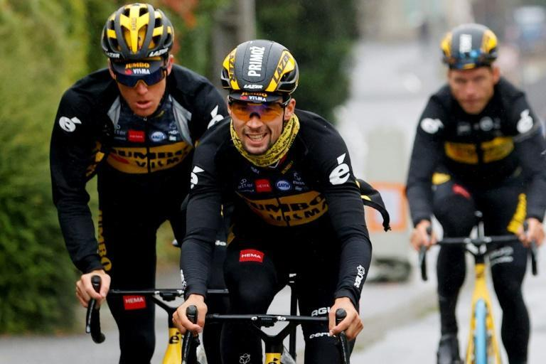 Primoz Roglic is all smiles in training in Brest ahead of the 2021 Tour de France