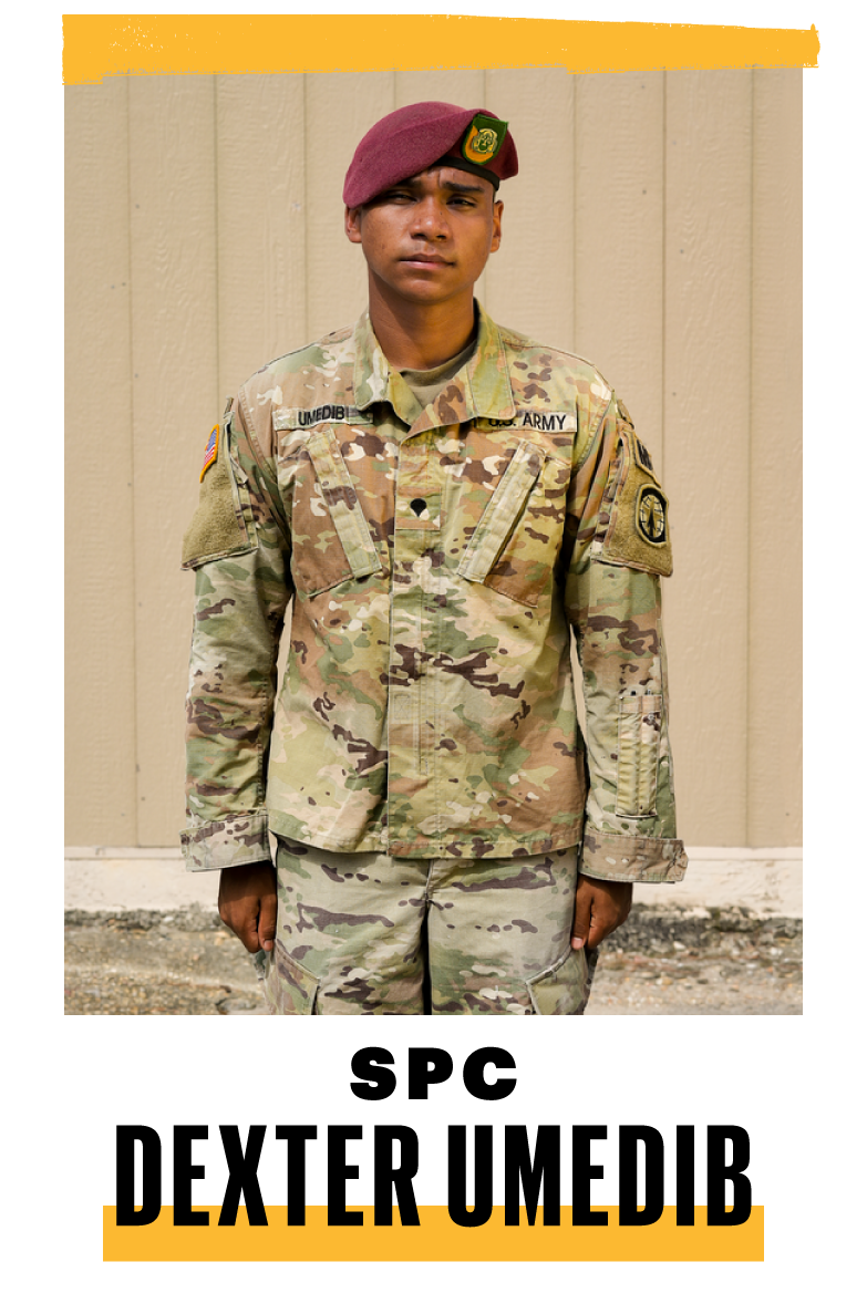 """<p><strong>Hometown: </strong>Tacoma, Washington <br><strong>Position:</strong> Platoon armorer/military police</p><p><strong>MY TWIN BROTHER</strong> and I both enlisted when we were 18. We followed in our uncle's footsteps. I remember as a kid going with him through the gates at Fort Lewis in Washington and being excited. People think others join the military to shoot guns and fight. But we also join to help better ourselves. I want to become a sergeant and travel. I'd love to be stationed in Italy. My brother is in Japan. Lucky him.</p><p>My uncle has deployed three times now. Sometimes he'll have to go sit by himself in a room. I'm kind of afraid of PTSD. But I have resources. Some older guys have been through some bad calls, like suicides. They'll tell me, """"Hey, if you're going through anything, just let me know. I'm upstairs, three doors down.""""</p>"""