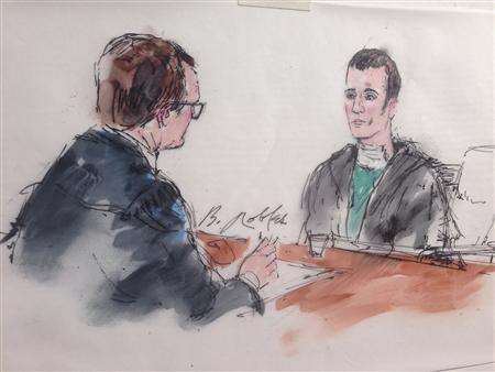 Paul Anthony Ciancia is questioned by U.S. Magistrate Judge David Bristow in this courtroom sketch at West Valley Detention Center in Rancho Cucamonga