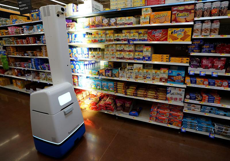 ROGERS, AR - MAY 31: A Bossa Nova Robotics scanning device moves through an aisle at a Walmart Supercenter during the annual Shareholders Meeting event on May 31, 2018 in Rogers, Arkansas. The automated shelf scanner is being tested in a pilot program at a limited number of Walmarts. The shareholders week brings thousands of shareholders and associates from around the world to meet at the company's global headquarters. (Photo by Rick T. Wilking/Getty Images)
