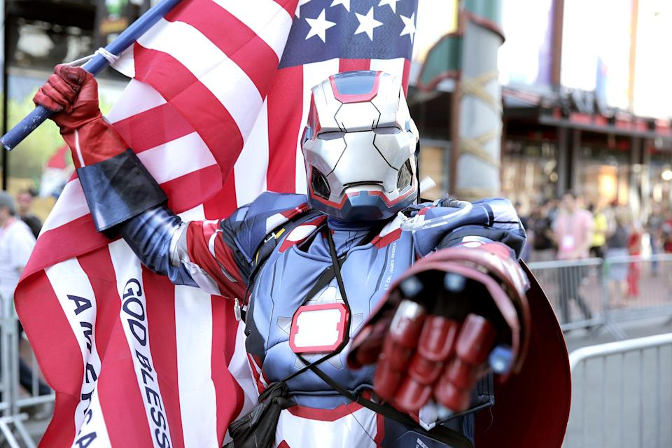 <p>Cosplayer dressed as War Machine at Comic-Con International on July 19, 2018, in San Diego. (Photo: Quinn P. Smith/Getty Images) </p>