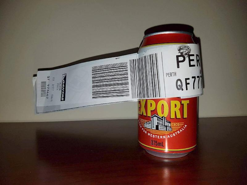Check-tin: This tinny made the flight between Melbourne and Perth as the sole piece of check-in baggage for passenger Dean Stinson (AFP Photo/DEAN STINSON)