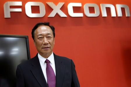 FILE PHOTO: Terry Gou, founder and chairman of Foxconn reacts during an interview with Reuters in New Taipei City