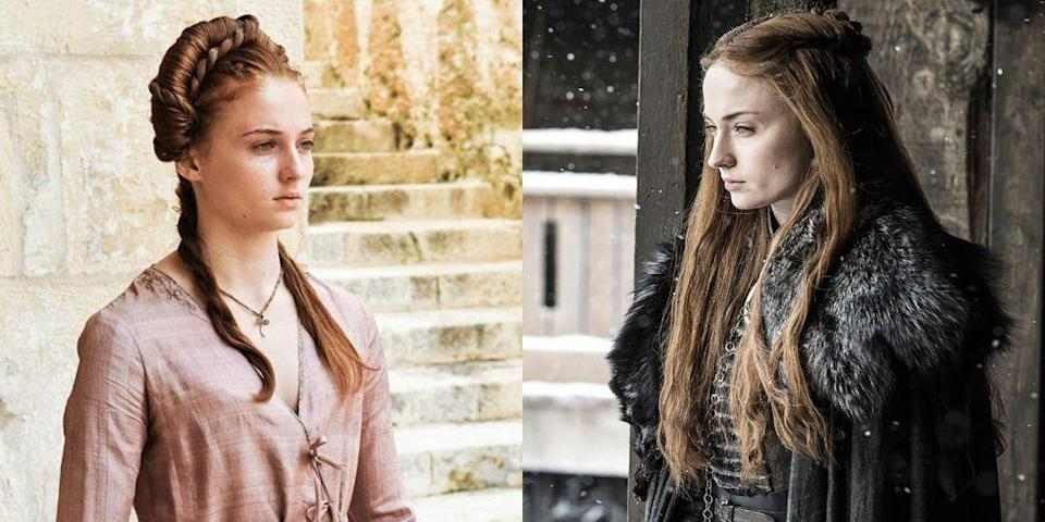 """<p>For seven nail-biting seasons, <em><a href=""""https://www.vox.com/the-goods/2019/4/3/18287327/game-of-thrones-sansa-stark-costumes-michele-clapton"""" rel=""""nofollow noopener"""" target=""""_blank"""" data-ylk=""""slk:Game of Thrones'"""" class=""""link rapid-noclick-resp"""">Game of Thrones' </a></em><a href=""""https://www.vox.com/the-goods/2019/4/3/18287327/game-of-thrones-sansa-stark-costumes-michele-clapton"""" rel=""""nofollow noopener"""" target=""""_blank"""" data-ylk=""""slk:Sansa Stark"""" class=""""link rapid-noclick-resp"""">Sansa Stark </a>has been through everything Westeros could possibly throw at her -and she's handled it with grace, dignity, and a wardrobe that reflects what she's been through. Everything Sansa wears, from her jewelry to her most luxurious gowns, has hidden meaning, whether it's symbolic of her lost innocence, her commitment to her family, or the abuse she suffers in later seasons. Ahead, your guide to how Sansa's style has changed, and what these looks really ~mean~.</p>"""