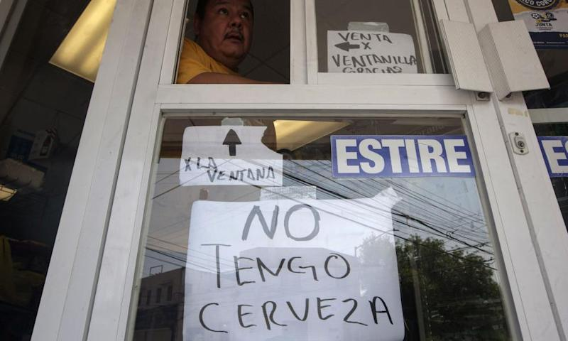 A sign at a beer store in Mexico, which translates as 'I don't have beer'.