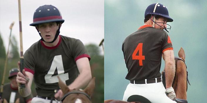 <p>Prince Charles is known for his love of polo, so naturally <em>The Crown </em>had to depict him playing the sport. The show closely replicated his uniform, even keeping the Prince's jersey number the same.</p>