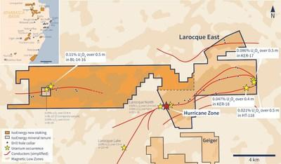 Expanded Larocque East Property Map (CNW Group/IsoEnergy Ltd.)