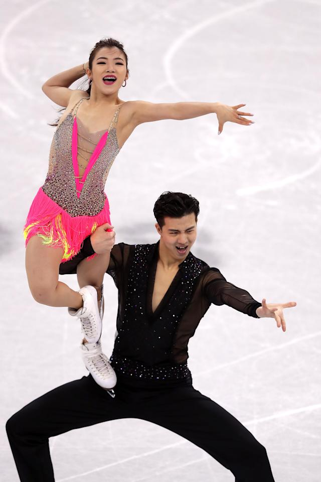 <p>Shiyue Wang and Xinyu Liu of China compete in the Figure Skating Team Event – Ice Dance – Short Dance on day two of the PyeongChang 2018 Winter Olympic Games at Gangneung Ice Arena on February 11, 2018 in Gangneung, South Korea. (Photo by Richard Heathcote/Getty Images) </p>
