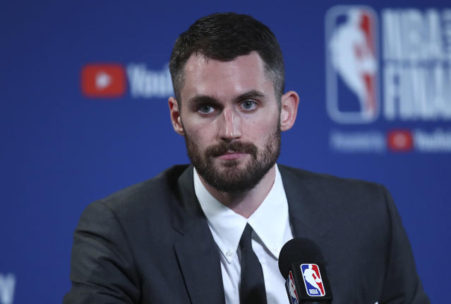 "<a class=""link rapid-noclick-resp"" href=""/nba/players/4391/"" data-ylk=""slk:Kevin Love"">Kevin Love</a> has become the de facto leader of the NBA's mental health movement. (AP)"