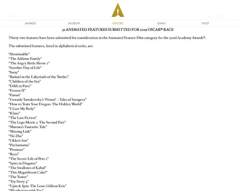 'Upin & Ipin: Keris Siamang Tunggal' is one of 32 films in the running for an Oscar in the Animated Feature category. — Screengrab from Oscars.org