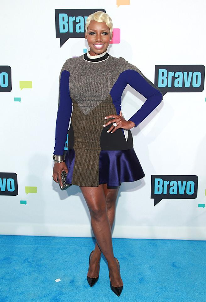 NeNe's latest no-no belongs on the ice rink, not on the blue carpet at the Bravo upfronts. And that freshly-dyed platinum 'do ... it's a don't. (4/3/2013)