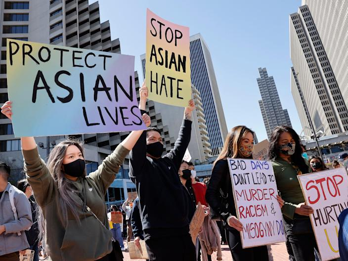<p>A youth led Asian Americans and Pacific Islander (AAPI), and supporters rally and march condemn hate and violence against the Asian community in San Francisco, California, on 26 March 2021</p> ((EPA))