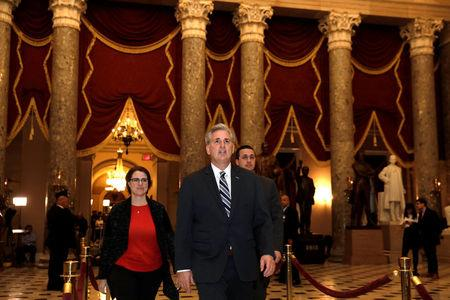 U.S. House Majority Leader Kevin McCarthy (R-CA) walks on Capitol Hill in Washington, U.S., after the House vote on the continuing resolution to avoid government shutdown, December 21, 2017. REUTERS/Yuri Gripas