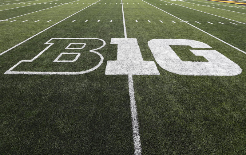 The Big Ten logo is seen on the field before an NCAA college football game between Iowa and Miami of Ohio, Saturday, Aug. 31, 2019, in Iowa City, Iowa. (AP Photo/Charlie Neibergall)