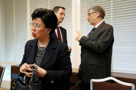 World Health Organization (WHO) Director-General Margaret Chan and Bill Gates (R), co-founder of the Bill & Melinda Gates Foundation, after a news conference on neglected tropical diseases (NTDs) in Geneva, Switzerland, April 18, 2017. REUTERS/Pierre Albouy