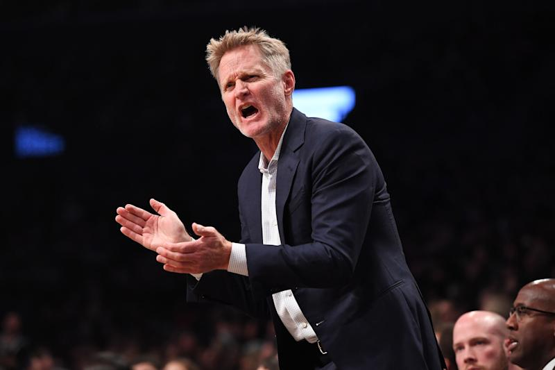 Golden State Warriors coach Steve Kerr, pictured during the Warriors-Nets game, did some of his best talking away from the sidelines on Sunday. (Matteo Marchi via Getty Images)