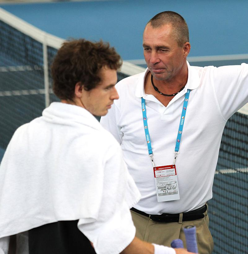 Britain's Andy Murray, left, talks to his new coach Ivan Lendl of the Czech Republic, right, while a training at the Brisbane International tennis tournament in Brisbane, Australia, Saturday, Jan. 7, 2012.  (AP Photo/Tertius Pickard)