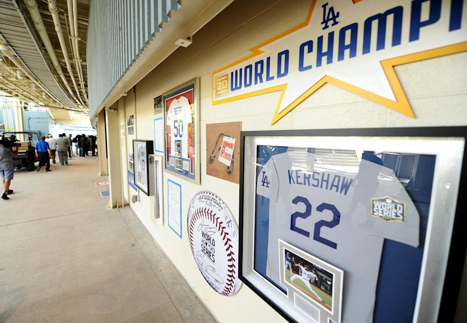 World Series Championship momentos are on display under the right field bleachers.