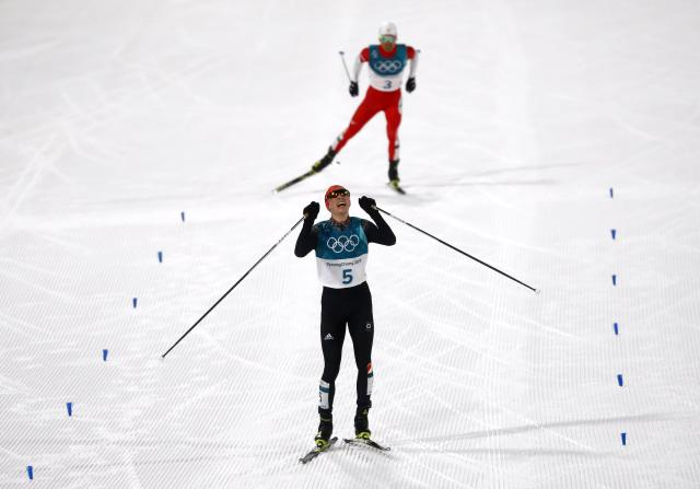 Nordic Combined Events - Pyeongchang 2018 Winter Olympics – Men's Individual 10km Final – Alpensia Cross-Country Skiing Centre - Pyeongchang, South Korea – February 14, 2018. Eric Frenzel of Germany celebrates his win. REUTERS/Kai Pfaffenbach