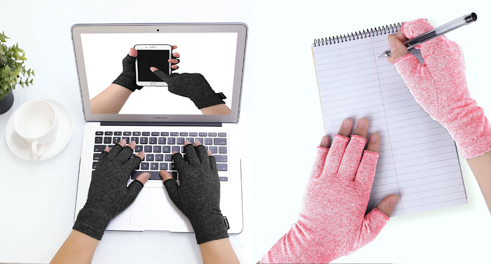 DISUPPO Compression Gloves are a top choice among Amazon shoppers for pain relief. Images via Amazon.