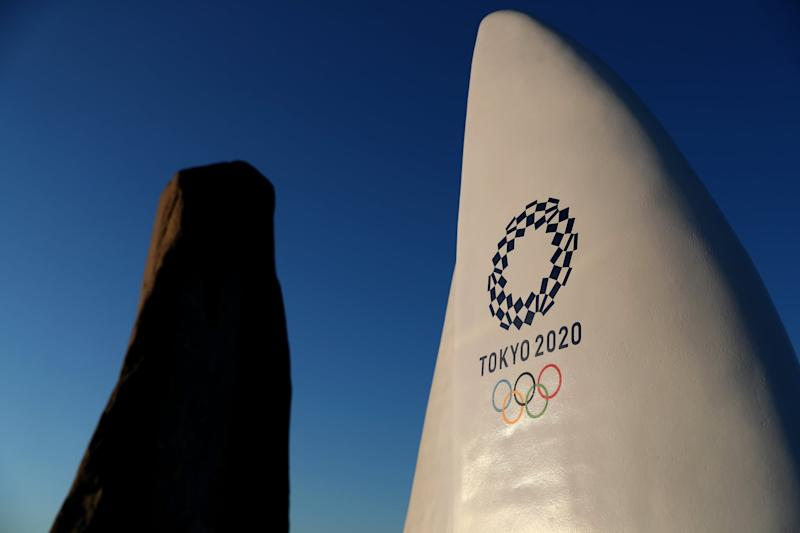 FUJISAWA, JAPAN - JANUARY 30: Tokyo 2020 signage is seen in Enoshima during the build up to the Tokyo 2020 Olympic Games on January 30, 2020 in Fujisawa, Kanagawa Prefecture, Japan. The venue will hold the sailing events. (Photo by Clive Rose/Getty Images)
