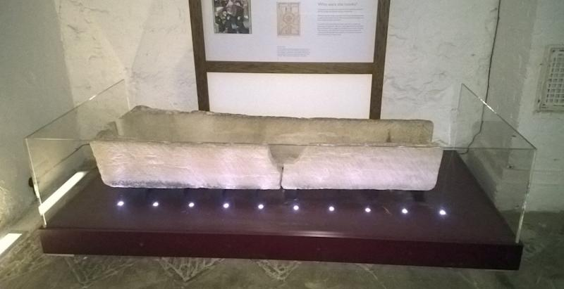 This 800-year-old coffin was damaged after someone placed a child inside for a photo, according to the museum where it was on display. (Southend-on-Sea Borough Council)