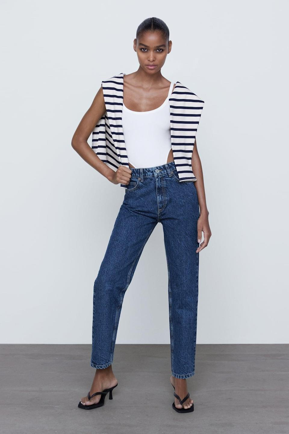 <p>If you're obsessed with a mom jean, we like the dark wash of these <span>Zara Mom Fit Jeans</span> ($40).</p>