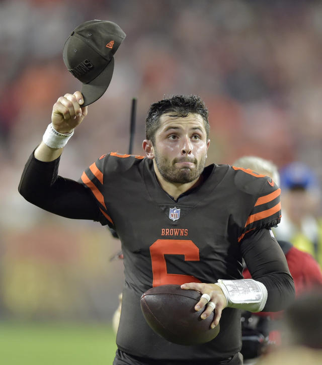 Cleveland Browns quarterback Baker Mayfield celebrates after the Browns defeated the New York Jets 21-17 in an NFL football game Thursday, Sept. 20, 2018, in Cleveland. (AP Photo/David Richard)