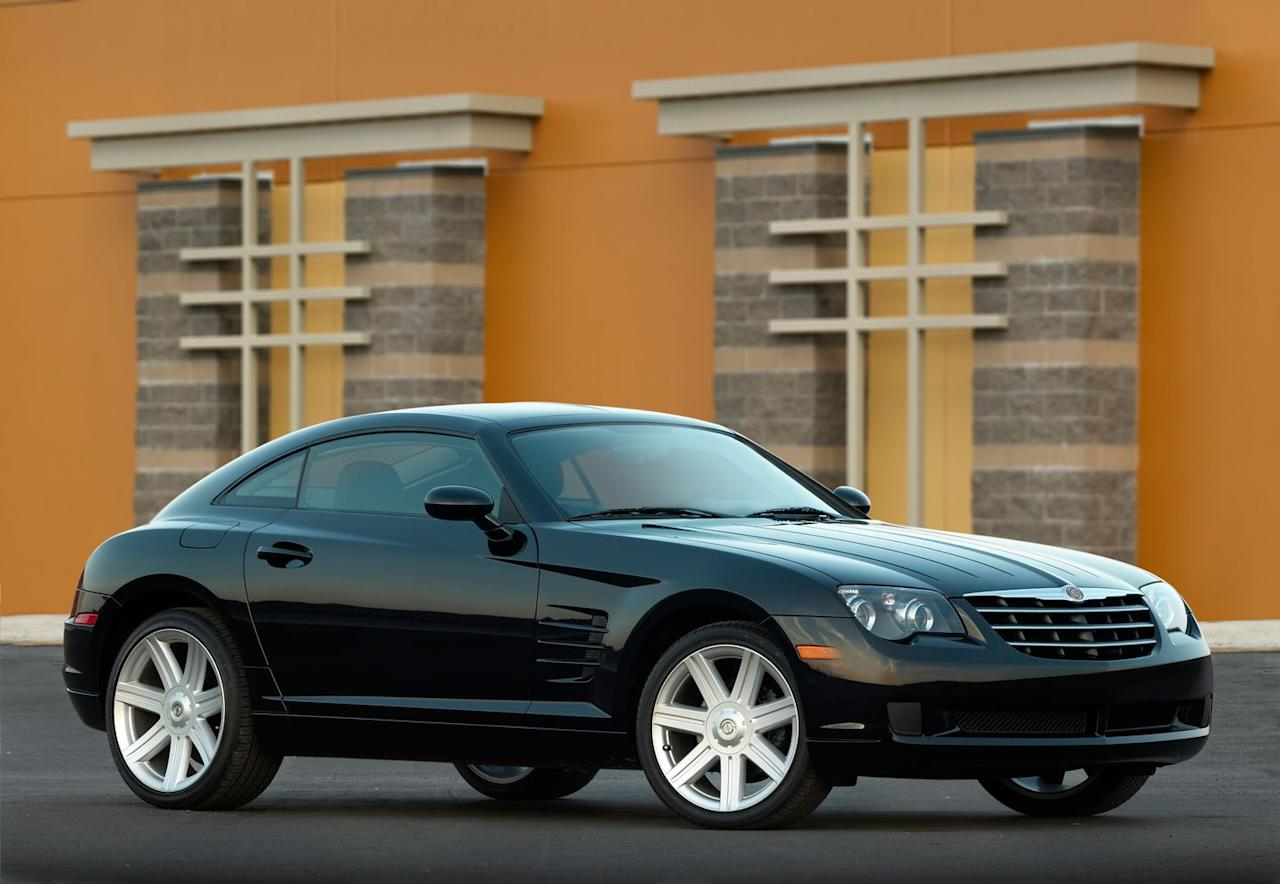 "<p>Co-developed by Daimler and Chrysler, <a href=""https://www.caranddriver.com/reviews/a15135300/2004-chrysler-crossfire-first-drive-review/"" target=""_blank"">the Crossfire</a> was based on the Mercedes-Benz SLK roadster and was Chrysler's first two-door sports car since the retro-fab Prowler. On paper, the Crossfire appeared enticing, with rear-wheel drive and an available six-speed manual transmission. In practice, the brutishly styled coupe (Chrysler also made a convertible version) was a truly decent thing to drive, but it suffered from a cramped cabin and poor rear visibility. Most intriguingly, Chrysler briefly offered <a href=""https://www.caranddriver.com/reviews/a15132578/chrysler-crossfire-srt-6-road-test/"" target=""_blank"">the Crossfire in SRT-6 guise</a>; the SRT treatment included an AMG-developed, 330-hp V-6 engine, upgraded brakes and suspension, and a sweet rear spoiler. Slow sales signed the Crossfire's death warrant in 2007.<em>-Max Mortimer</em></p>"