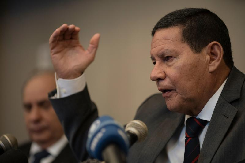 Brazil Vice-President Hamilton Mourao gestures during a press conference with foreign journalists in Rio de Janeiro, Brazil, on July 15, 2019. (Photo by MAURO PIMENTEL / AFP) (Photo credit should read MAURO PIMENTEL/AFP via Getty Images)