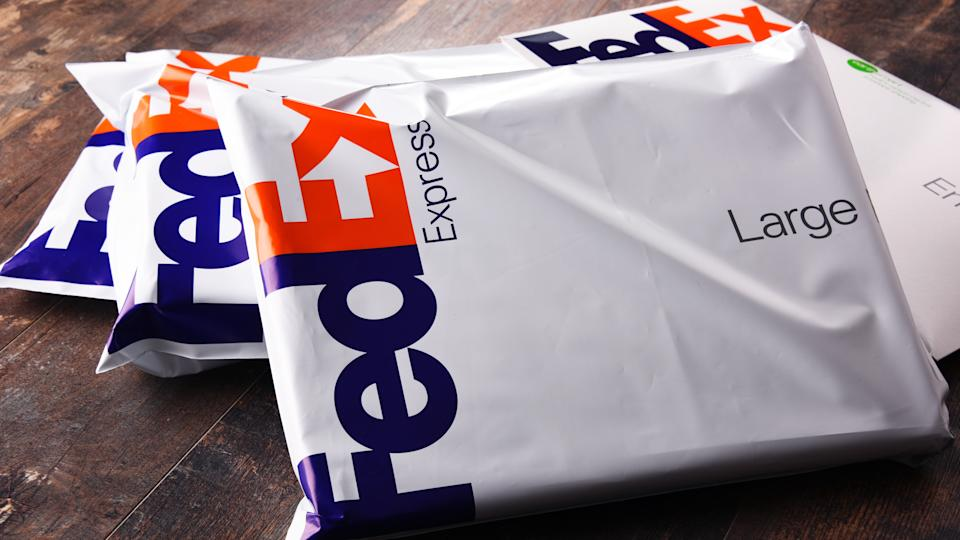 POZNAN, POL - AUG 2, 2017: Envelopes and parcels of FedEx, an American multinational courier delivery services company headquartered in Memphis, Tennessee.