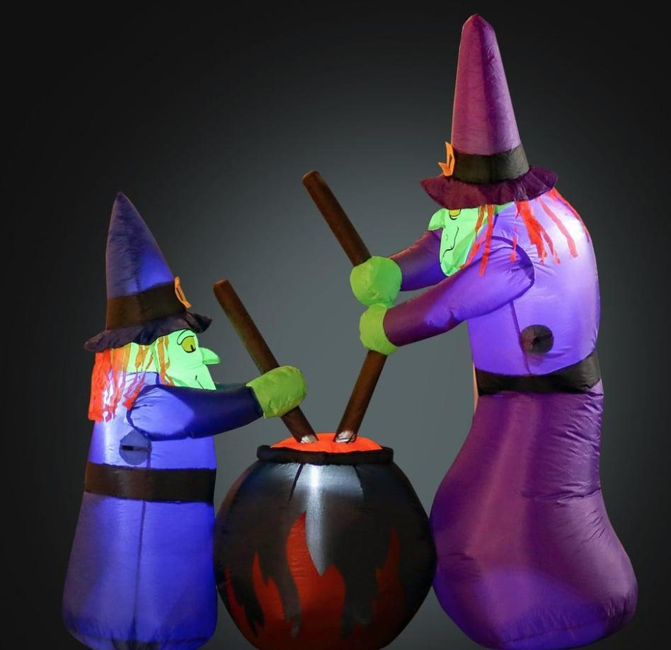 """<p>This <span>Inflatable Witches With Cauldron</span> ($53) is made from ultra-durable, weather-resistant and waterproof polyester material so you can display this illuminated blow-up again next year, and the year after that, too! On <a class=""""link rapid-noclick-resp"""" href=""""https://www.popsugar.com/Halloween"""" rel=""""nofollow noopener"""" target=""""_blank"""" data-ylk=""""slk:Halloween"""">Halloween</a>, witches never go out of style.</p>"""