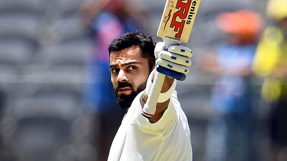 Seen here, Virat Kohli averages well over 50 in his Test matches Down Under.