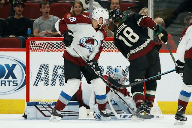 Arizona Coyotes left wing Christian Dvorak (18) gets the puck past Colorado Avalanche defenseman Ian Cole (28) and Colorado Avalanche goaltender Pavel Francouz, back, for a goal during the first period of an NHL hockey game Saturday, Nov. 2, 2019, in Glendale, Ariz. (AP Photo/Ross D. Franklin)