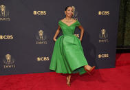 Yara Shahidi arrives at the 73rd Primetime Emmy Awards on Sunday, Sept. 19, 2021, at L.A. Live in Los Angeles. (AP Photo/Chris Pizzello)