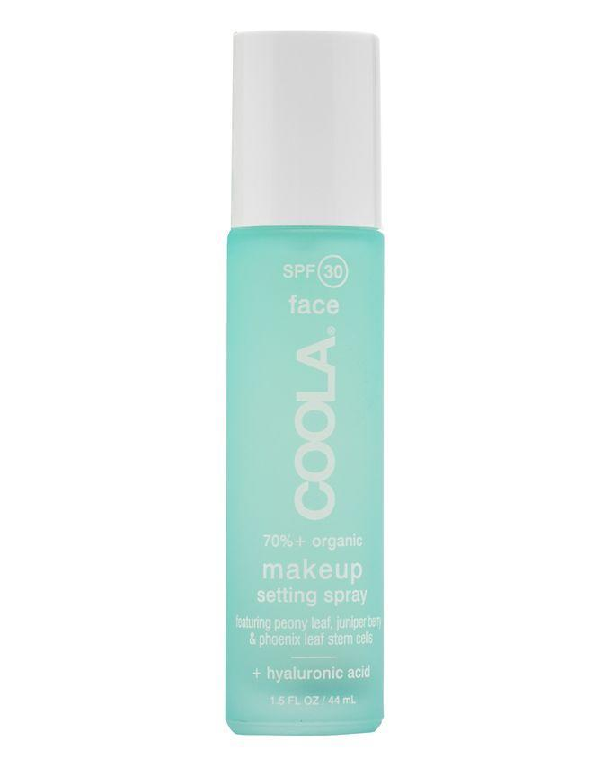 """Spritz on this SPF 30 formula for a long-wearing mattifying effect and a boost from skin-care ingredients like aloe vera and hyaluronic acid.<br><br><strong>Coola</strong> Makeup Setting Spray SPF 30, $, available at <a href=""""https://www.cultbeauty.co.uk/coola-makeup-setting-spray-spf-30-green-tea-aloe.html"""" rel=""""nofollow noopener"""" target=""""_blank"""" data-ylk=""""slk:Cult Beauty"""" class=""""link rapid-noclick-resp"""">Cult Beauty</a>"""