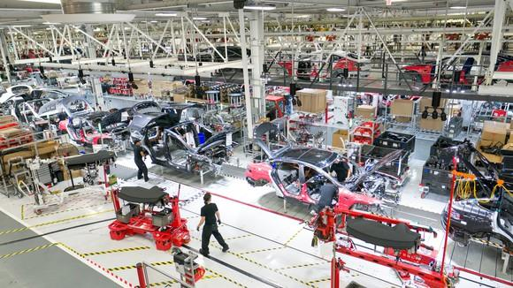 General assembly of Tesla vehicles at Tesla's factory in Fremont, California.