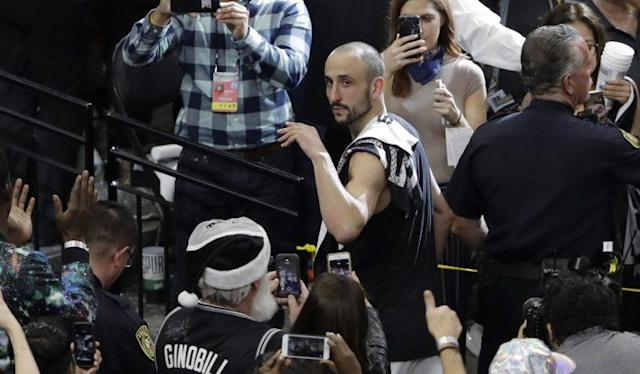 "<a class=""link rapid-noclick-resp"" href=""/nba/players/3380/"" data-ylk=""slk:Manu Ginobili"">Manu Ginobili</a> does not have a contract with the Spurs for next season. (AP)"