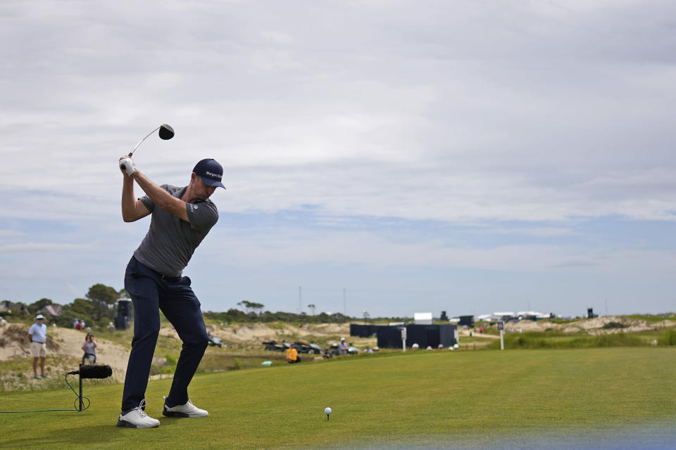 Justin Rose, of England, tees off on the 15th hole during a practice round at the PGA Championship golf tournament on the Ocean Course Wednesday, May 19, 2021, in Kiawah Island, S.C. (AP Photo/David J. Phillip)