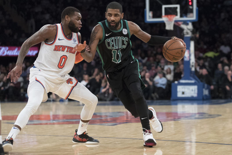 ccf0a312f295 Celtics G Kyrie Irving receives warm welcome at MSG