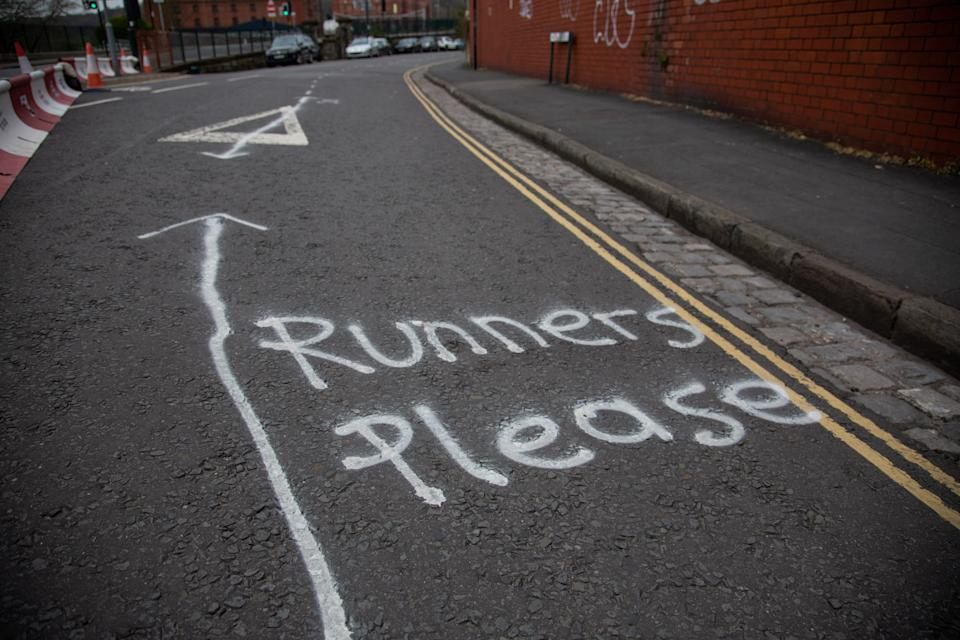 The two metre wide lane has been marked out to keep social distancing on a route that is popular with runners (Picture: SWNS)