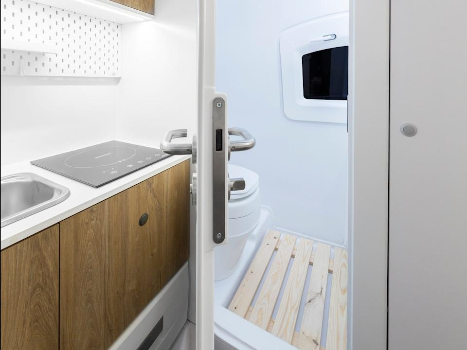 The Ecocapsule's kitchenette and bathroom.