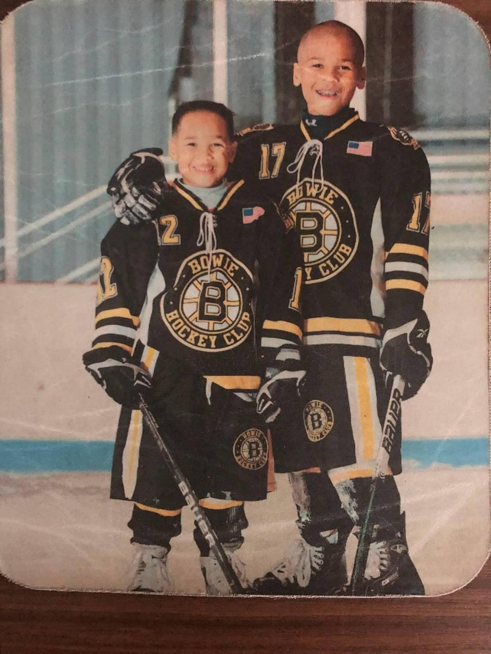 Bryce Montgomery, right, and younger brother Blake both were involved with hockey at a young age.