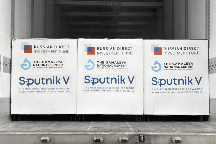 Boxes of Sputnik V vaccines are ready to be unloaded from a truck at a warehouse of Hungaropharma, a Hungarian pharmaceutical wholesale company, in Budapest, Hungary, Thursday, March 4, 2021. (Zoltan Mathe/MTI via AP)