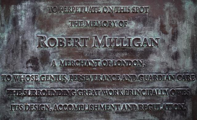 The plaque beneath the statue of Robert Milligan outside the Museum of London. (Getty)